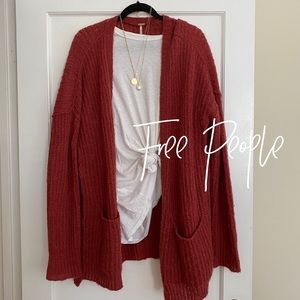 Free People // red knit cardigan